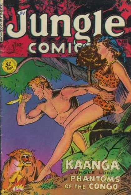 Jungle Comics 130 - Man - Woman - Knife - Tigar - Congo