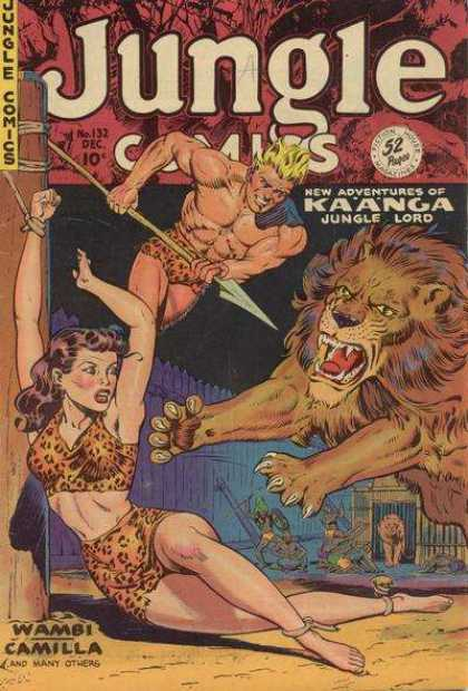 Jungle Comics 132 - Lion - Spear - Woman Tied Up - Rope - Pole