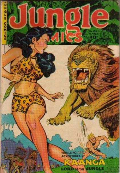 Jungle Comics 135 - Lion - Elephants - Dark Hair - Lord Of The Jungle - Kaanga
