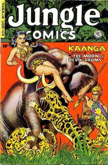 Jungle Comics 143 - Elephant - Leopards - Spear - Tusks - The Moon Of Devil Drums