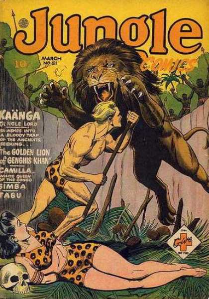 Jungle Comics 51 - Lion - Leopard Skin - Natives - Pit - Claws