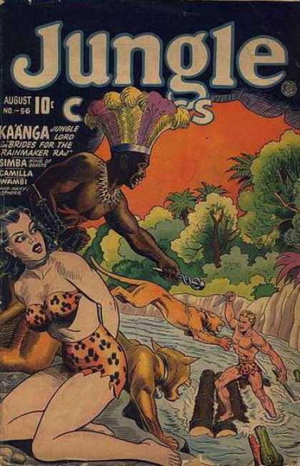 Jungle Comics 56 - Woman - Tiger - River - Tree - 10c