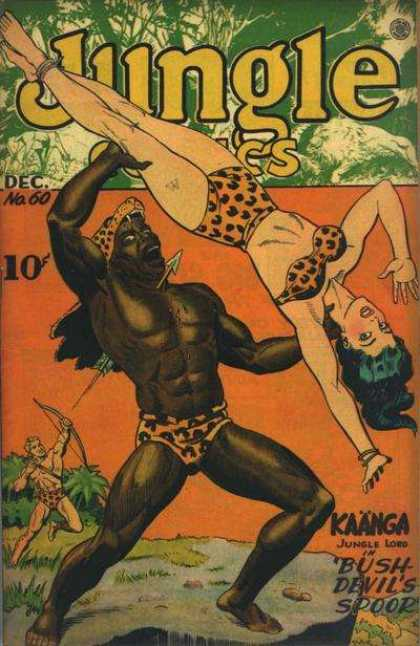 Jungle Comics 60 - Kaanga Jungle Lord - Bush Devils Spoor - Woman In Leopard Print Bikini - Man With Bow And Arrow - Man In Leopard Skin Hat Being Shot With Arrow