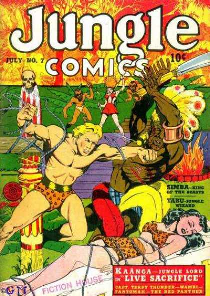 Jungle Comics 7 - 10 Cents - July - Bare Chest - Punch - Skull