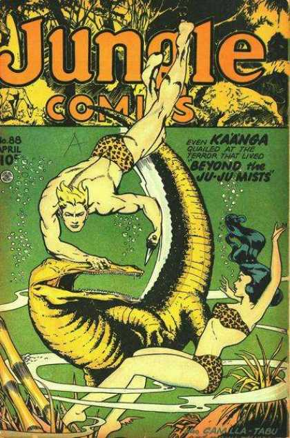 Jungle Comics 88 - Reptile - Woman - Man - Trees - Bubbles
