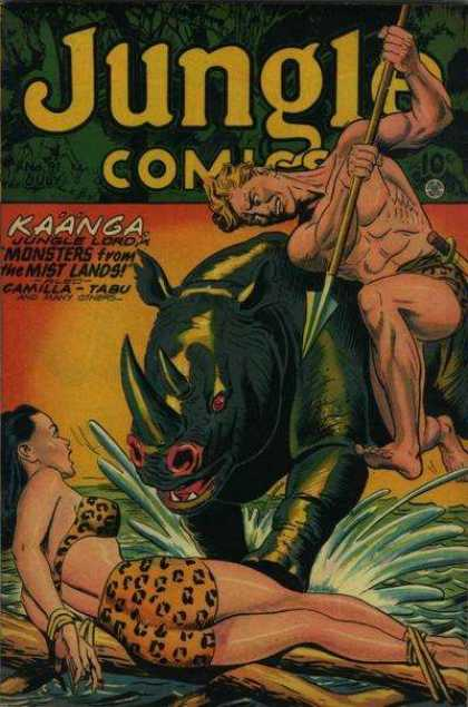 Jungle Comics 91 - Jungle Lord - Mist Lands - Rhino - Spear - Attacking