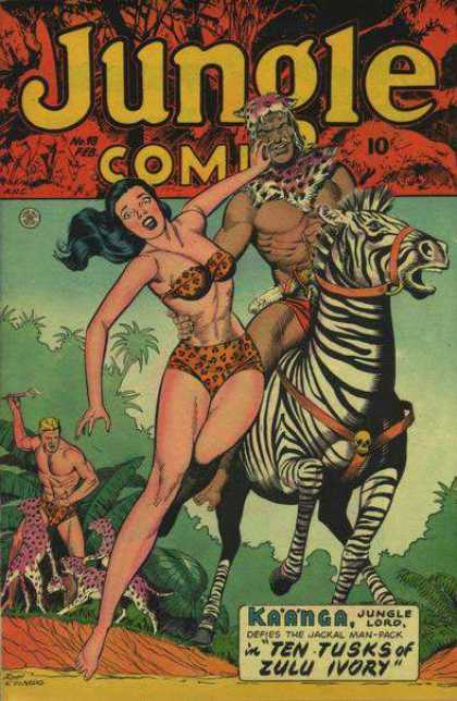 Jungle Comics 98 - Savage - Zebra - Kaanga - Ten Tusks Of Zulu Ivory - Cheetah