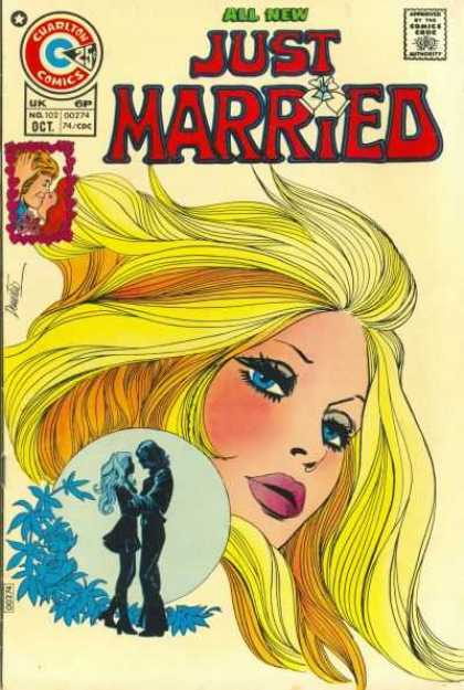 Just Married 102 - Bland Hair - All New - Blue Eyes Dark Lashes - Man And Worman Touching - Blue Flower Vine