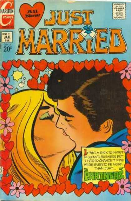 Just Married 91 - Hearts - Flowers - Wedding Bells - Kissing - Partners