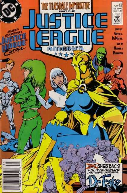 Justice League America 31 - The Teasdale Imperative Part One - Europe - Shes Back - Dr Fate - The Mxsterious And Vastly Improved - Adam Hughes