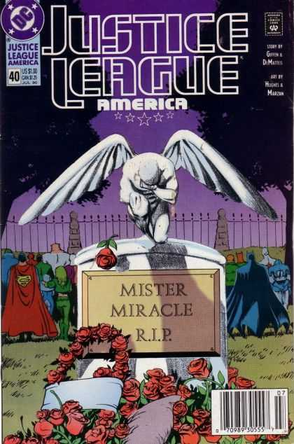 Justice League America 40 - Superman - Batman - Mister Miracle Rip - Headstone - Grave - Adam Hughes