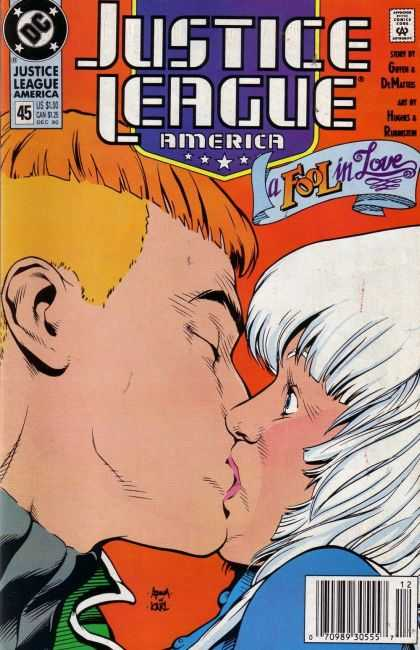 Justice League America 45 - Approved By The Comics Code Authority - Dc - Kiss - A Fool In Love - Dec - Adam Hughes
