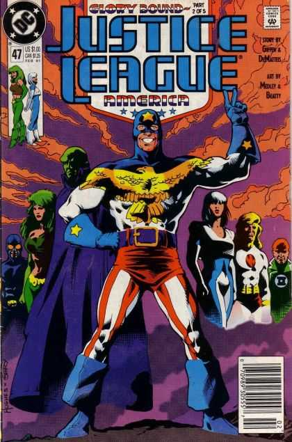 Justice League America 47 - Griffen - Green Lantern - Glory Bound - Victory Sign - Martian Manhunter - Adam Hughes