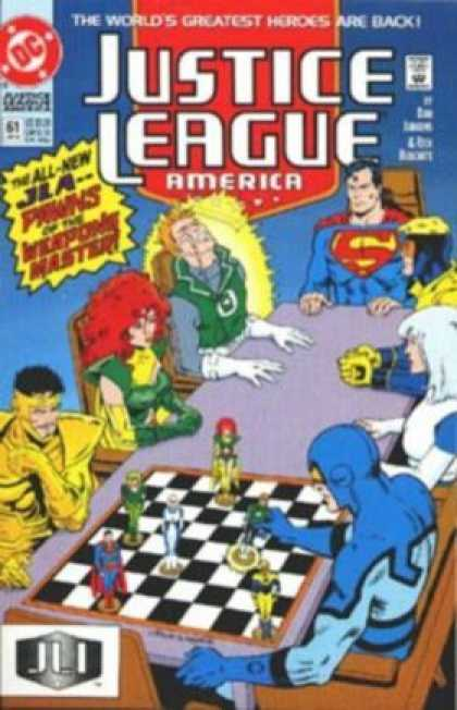 Justice League America 61 - Justice League - Superman - Chess Game - Greatest Heroes - Are Back - Dan Jurgens