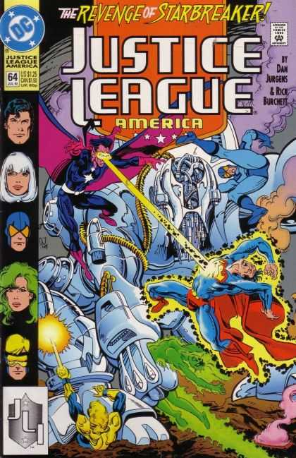 Justice League America 64 - The Revenge Of Starbreaker - Robot - Smoke - Laser - Superman - Dan Jurgens