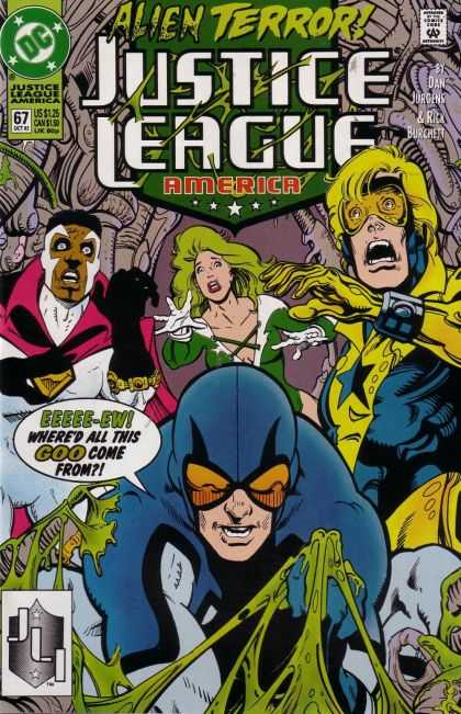 Justice League America 67 - God - Green - Yellow - Black - Hand - Dan Jurgens