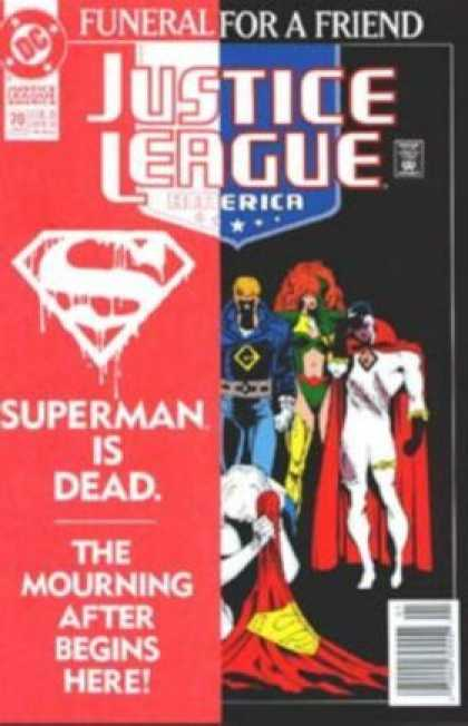 Justice League America 70 - Funeral For A Friend - Superman Is Dead - The Mourning Of A Hero - Sad Superheroes On The Front Cover - Black And Red Background - Dan Jurgens