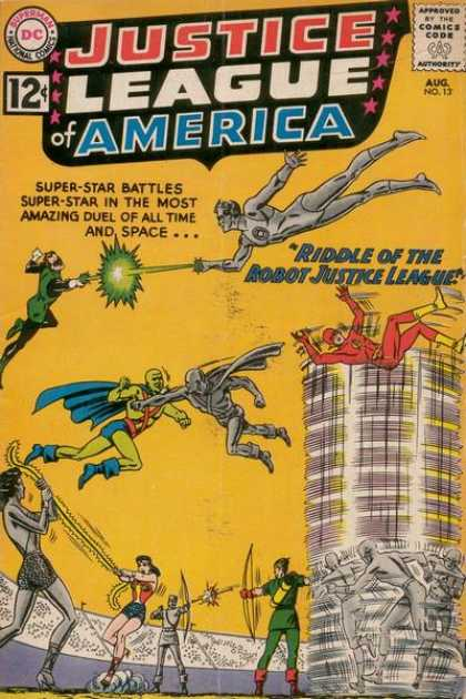 Justice League of America 13 - Riddle Of The Robot Justice League - Duels - Wonder Woman - Flash Gordon - Green Lantern - Murphy Anderson