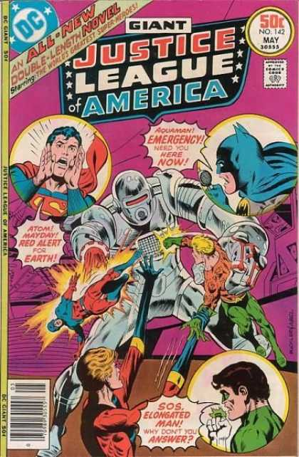 Justice League of America 142 - An All-new Double-length Novel - Starring The Worlds Greatest Super-heroes - Aquaman Emergency Need You Here Now - 50 Cents No 142 May - Atom Mayday Red Alert For Earth - Richard Buckler