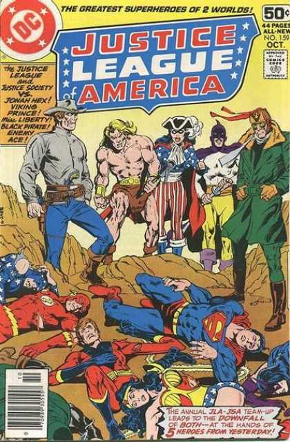Justice League of America 159 - The Greatest Superheros Of 2 Worlds - Dc - Downfall - Cap - Sword - Dick Giordano, Richard Buckler