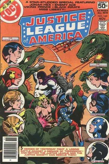 Justice League of America 160 - Superman - Dinosaur - The Flash - Jonah Hex - Miss Liberty - Dick Giordano