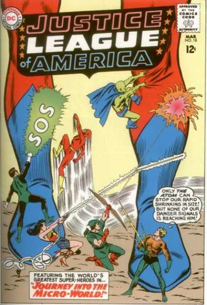 Justice League of America 18 - Costume - Superhero - Giant Legs - Battle - Journey Into The Micro World