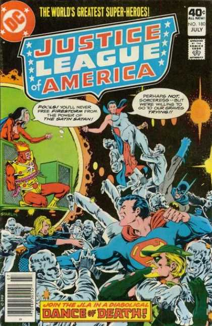 Justice League of America 180 - The Worlds Greatest Super-heroes - Costumes - Superman - The Satin Satan - Battle - Jim Starlin