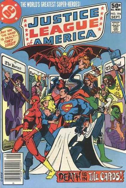 Justice League of America 194 - Justice League Of America - Any Way The Hand Is Dealt - They Lose - Death Is In The Cards - Superman - The Hermit - George Perez