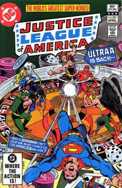 Justice League of America 201 - Superhumans - Superman - Robinson - Dice - Coins - Dick Giordano, George Perez