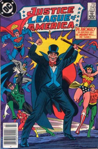 Justice League of America 240 - Dr Anomaly Is Among Us He Means Well We Think - Superman - Wonderwoman - Batman - Cane