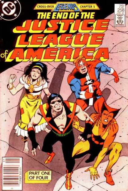Justice League of America 258 - Cross-over Legends Chapter 5 - 75c 258 - Part One Of Four - Woman Looking Up - Raised Fists