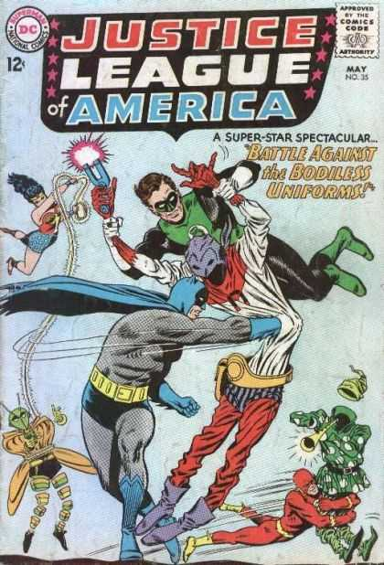 Justice League of America 35 - Old Comic Book - Collector Book - Green Person - Dc Comics - Superhero Battle