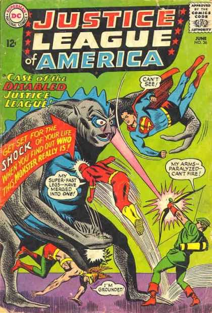 Justice League of America 36 - Superman - Flash - Monster - Fight - Zoom