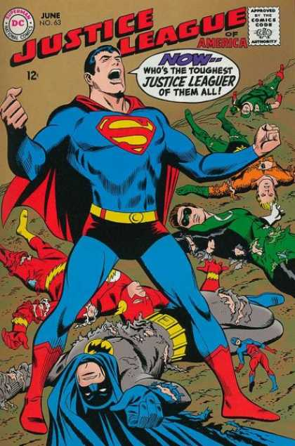 Justice League of America 63 - Superman - The Flash Lying On The Ground - The Green Lantern Lying On The Ground - Aquaman Lying On The Ground - Batman Lying On The Ground