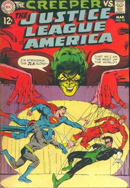 Justice League of America 70 - The Creeper - Superman - Batman - Fight - Strings - Neal Adams