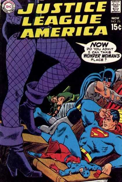 Justice League of America 75 - November - Comics Code Authority - 15 Cents - Speech Bubble - Fishnet Pantyhose - Carmine Infantino