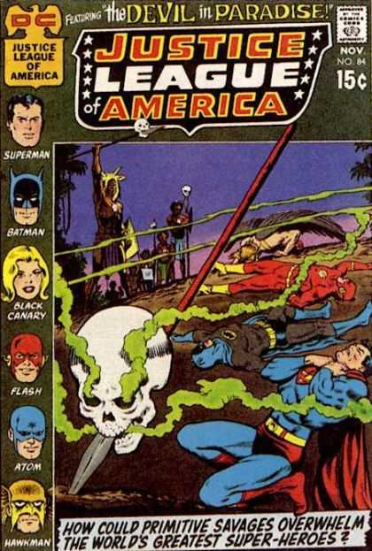 Justice League of America 84 - The Devil In Paradise - Primitive Savages - Superman - Flash - Skull - Curt Swan