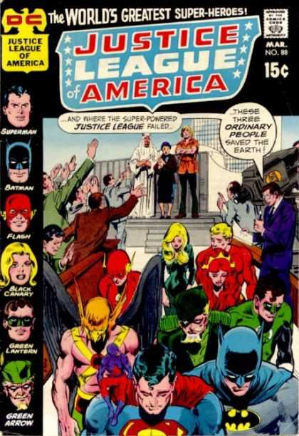 Justice League of America 88 - Court - Superheroes - Citizens - Steps - Sad - Neal Adams