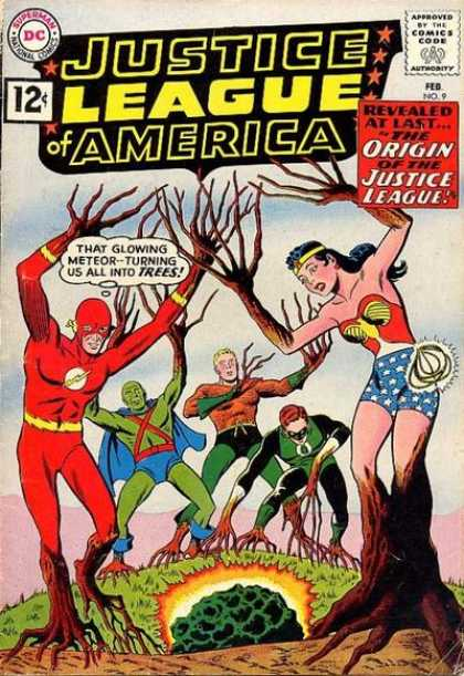 Justice League of America 9 - Glowing - Meteor - Trees - Golden Lasso - Aquaman - Murphy Anderson