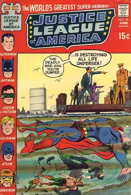Justice League of America 90 - Superman - Sea - Gas - Toxic - Fish - Carmine Infantino, Murphy Anderson