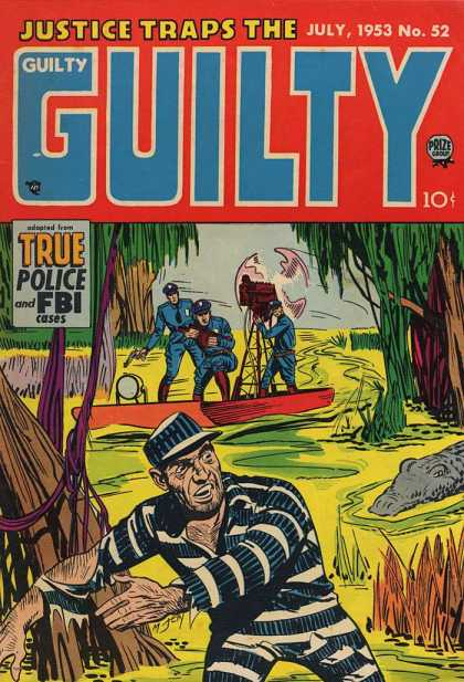 Justice Traps the Guilty 52 - Convict - Alligator - Police - Bayou - Boat