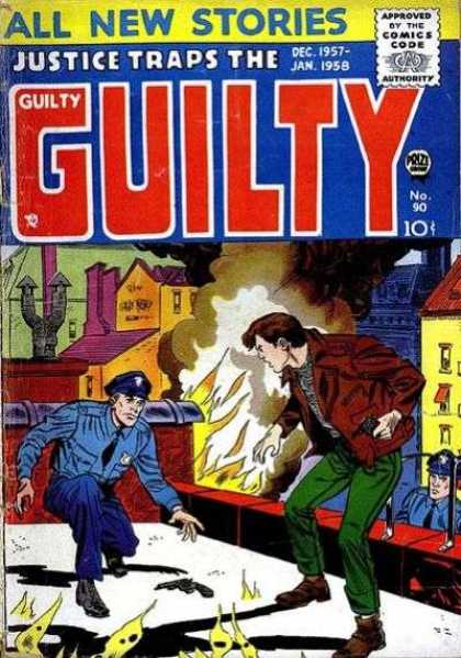 Justice Traps the Guilty 90 - Police - Man - Fire - Buildings - Gun