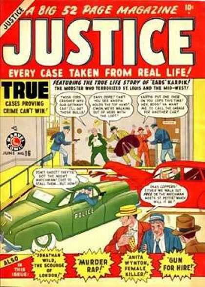 Justice 16 - A Big 52 Page Magazine - True - Car - Cop - Murder Rap