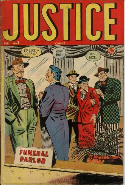 Justice 8 - Funeral Parlour - How Big - His Size - Id Like A Coffin - Marvel Comic - Alex Ross