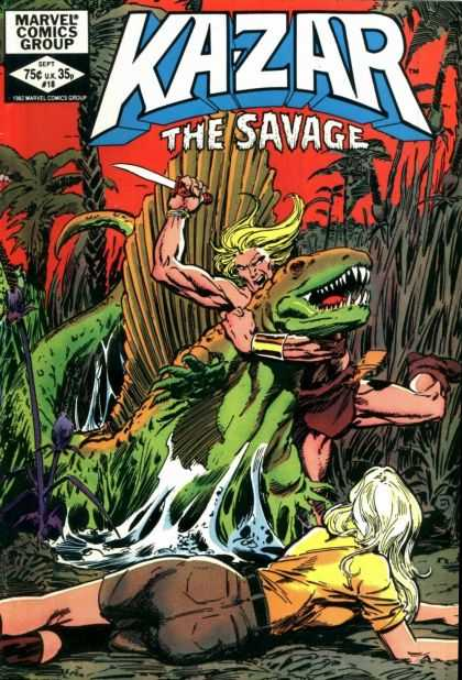 Kazar 18 - Barbarian - Dinosaur - Jungle - Knife - Blonde Woman