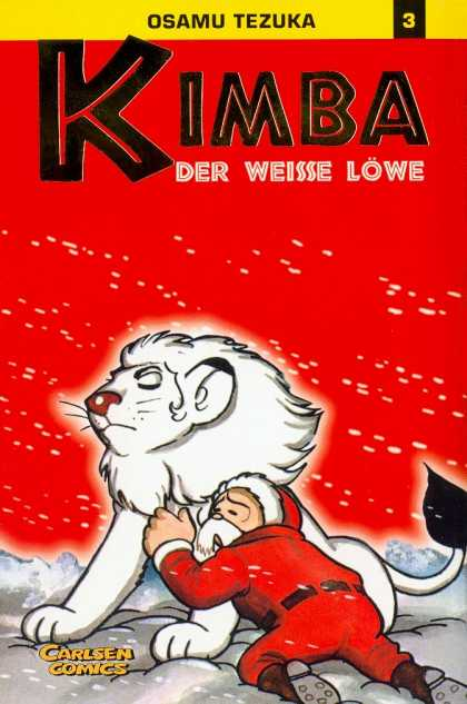 Kimba 3 - Santa Claus - White Lion - Snow - Red Background - Black Boots