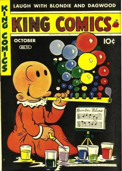 King Comics 114 - Blondie And Dagwood - October - 10 Cents - Colored Bubbles - King Comics