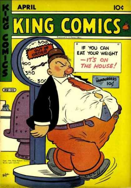 King Comics 120 - Overstuffed Man - Popping Buttons - Food Signs - Broken Scale - Out Of Order Sign