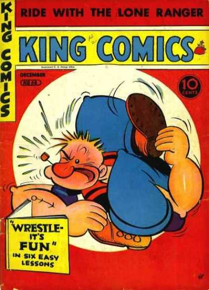 King Comics 68 - Popeye - Book - Ride With The Lone Ranger - Wrestle - Pipe