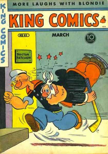 King Comics 83 - Popeye - Doctors Office - Ice Skates - Injury - Hockey
